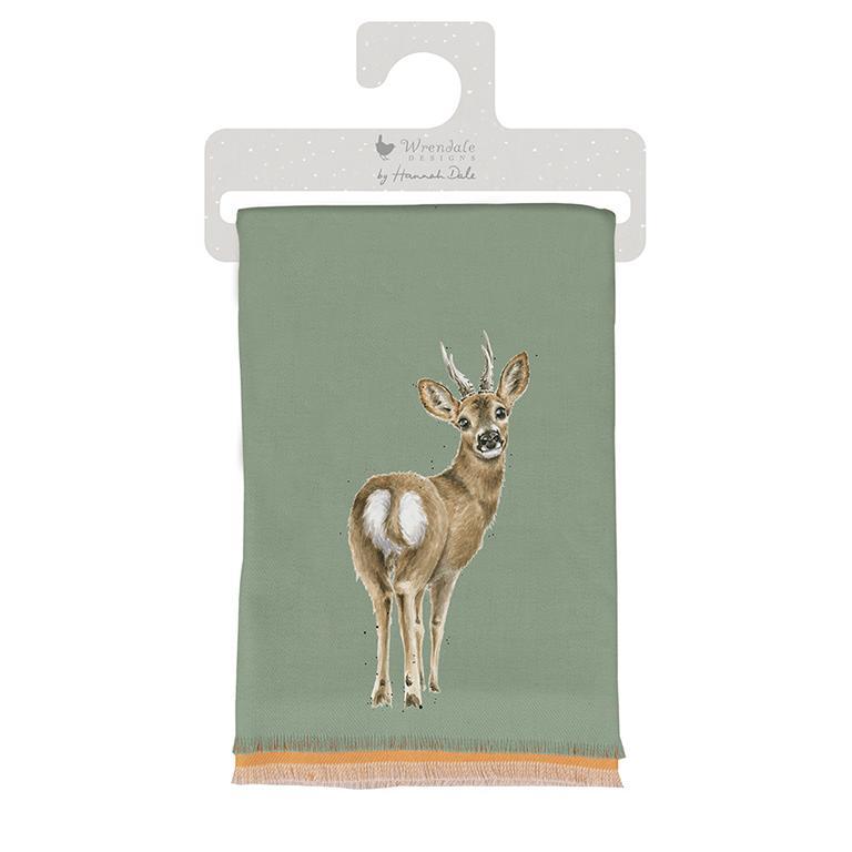 "Wrendale Winterschal, graugrün, Motiv Rehbock ""The Roe Dear"" ,inkl Geschenktüte 190x70 cm"