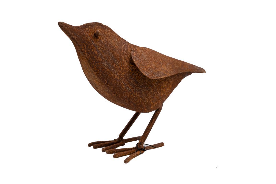 Singvogel, Plastisch, nach oben schauend, Edelrost, L 18cm x H17cm