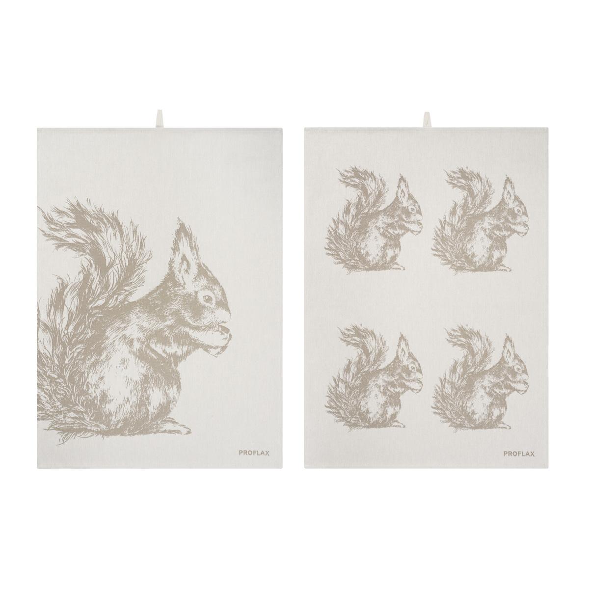 PROFLAX Geschirrtuch 2er Set, Motiv Eichhörnchen in Reihe und Eichhörnchen groß, taupe, 50 x 70
