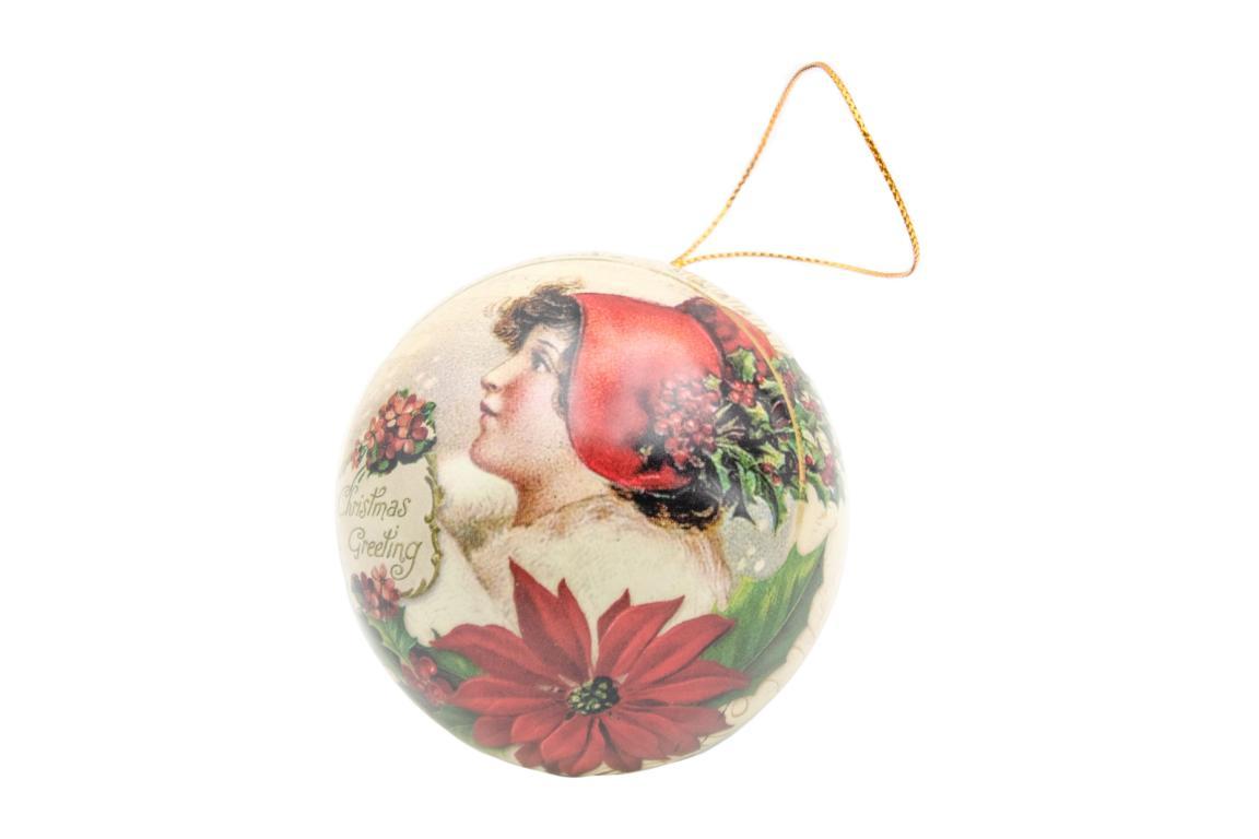 Blechkugel zum befüllen und aufhängen, beige, Motiv Frau mit rotem Hut/ Rotkehlchen, D 7 cm