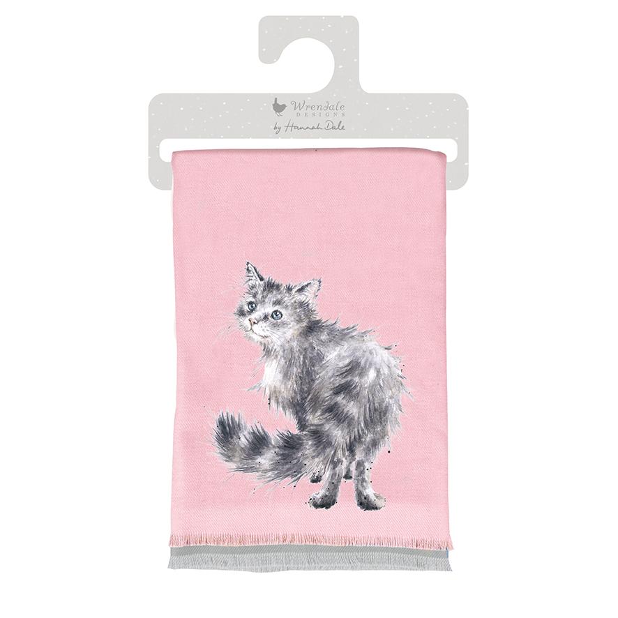 Wrendale Winterschal, Flieder, Motiv Katze,inkl Geschenktüte 190x70 cm