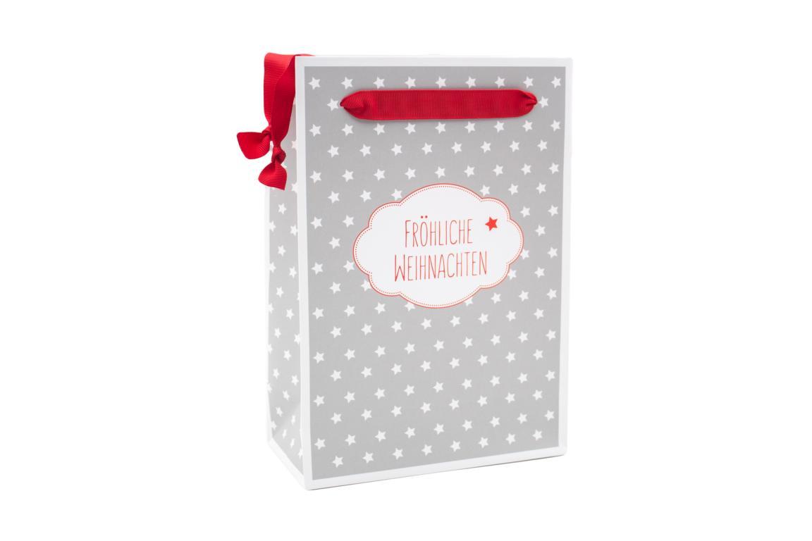 """Geschenktüte Weihnachten, weiß grau mit Sternen """" Fröhliche Weihnachten, H 20x B 16 cm"""