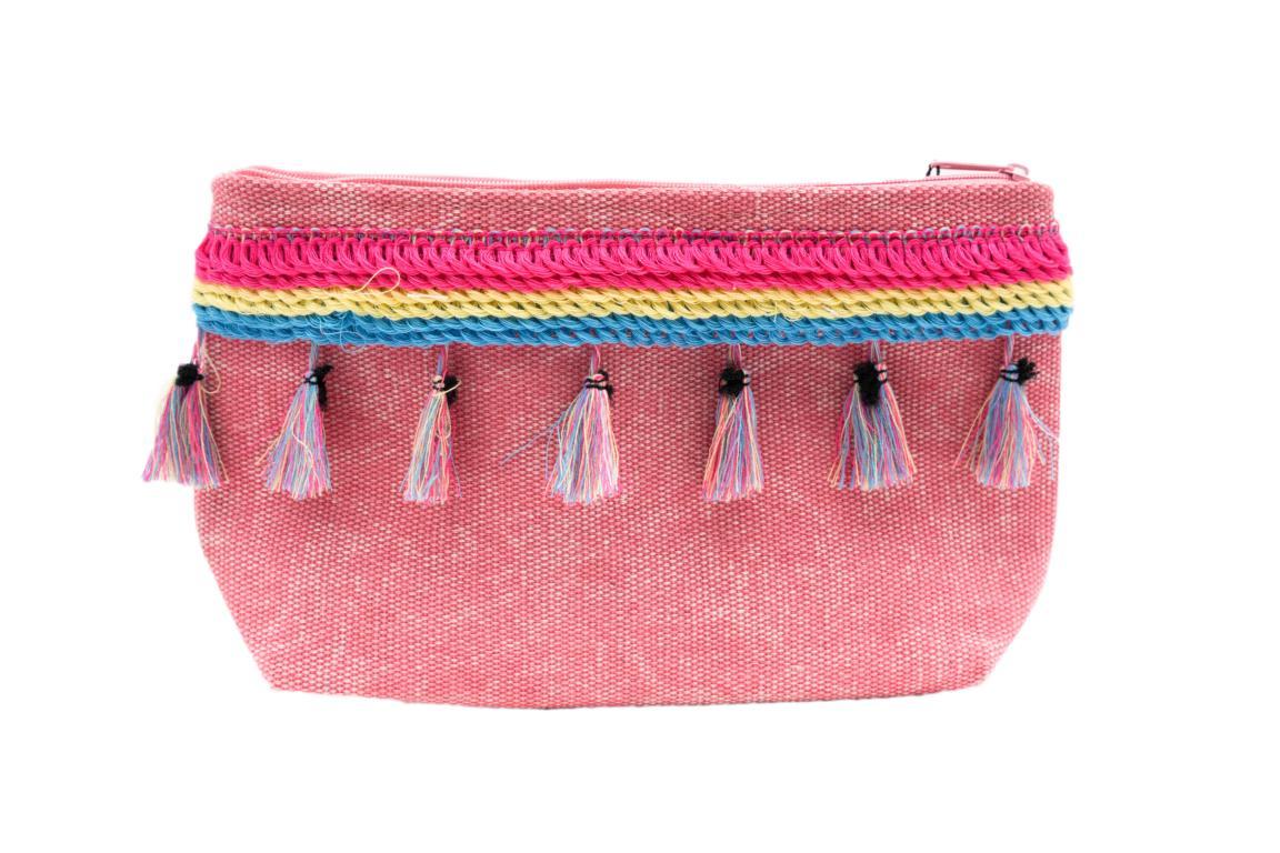 Kleine Kosmetiktasche, rot mit Troddeln und Reißverschluss