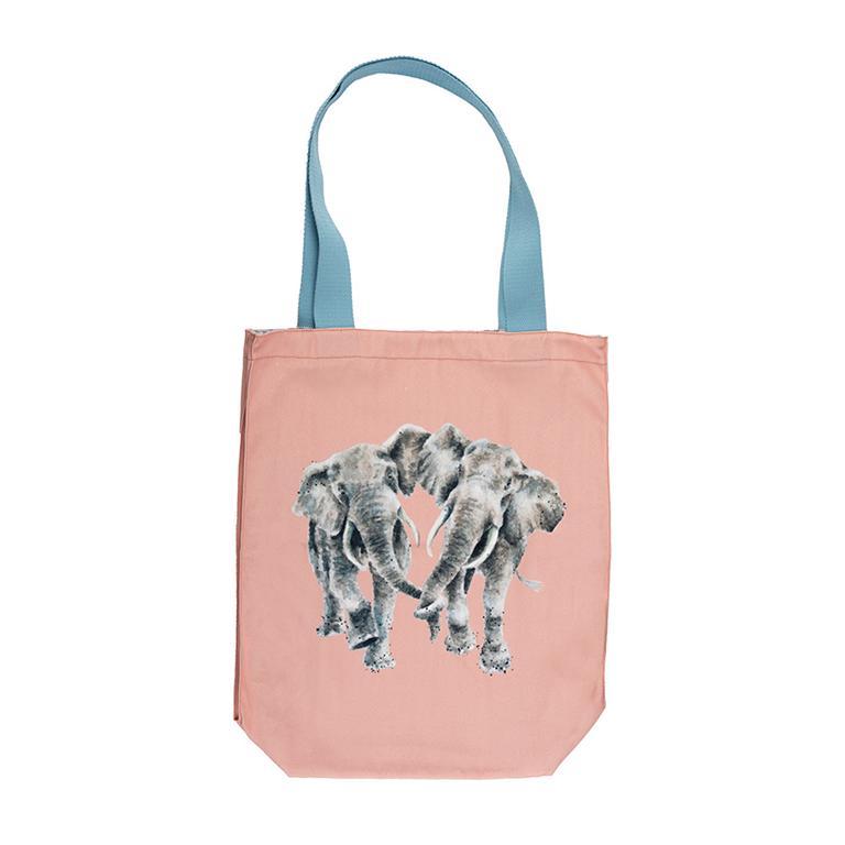 """Wrendale Canvas Tragetasche, Motiv zwei Elefanten """"Age is Irrelefant"""", aus Segeltuch mit Futter aus 100% Baumwolle, Pfirsich, 42x40x10cm"""