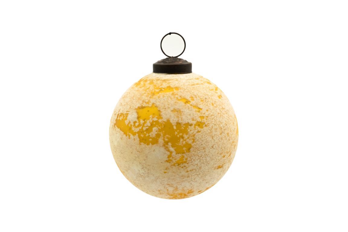 Colmore Christbaumkugel, Glas, goldgelb/creme marmoriert, Antike Optik, D 10cm